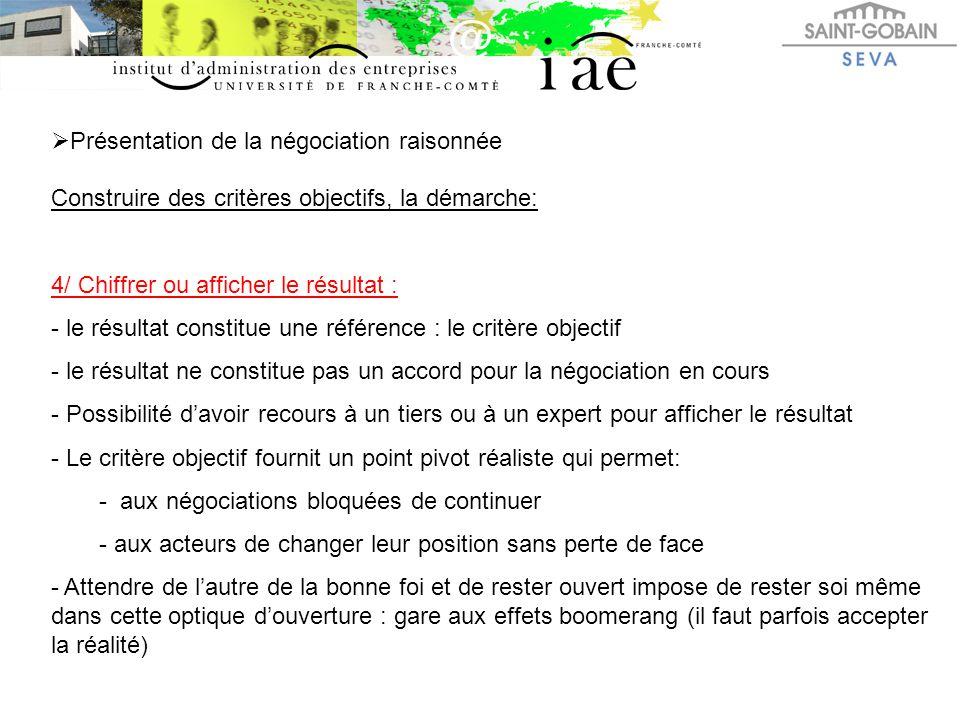  Présentation de la négociation raisonnée Construire des critères objectifs, la démarche: 4/ Chiffrer ou afficher le résultat : - le résultat constit