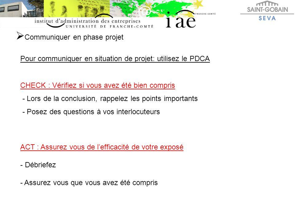  Communiquer en phase projet Pour communiquer en situation de projet: utilisez le PDCA CHECK : Vérifiez si vous avez été bien compris - Lors de la co