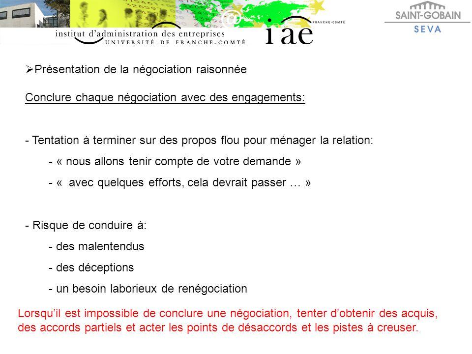  Présentation de la négociation raisonnée Conclure chaque négociation avec des engagements: - Tentation à terminer sur des propos flou pour ménager l