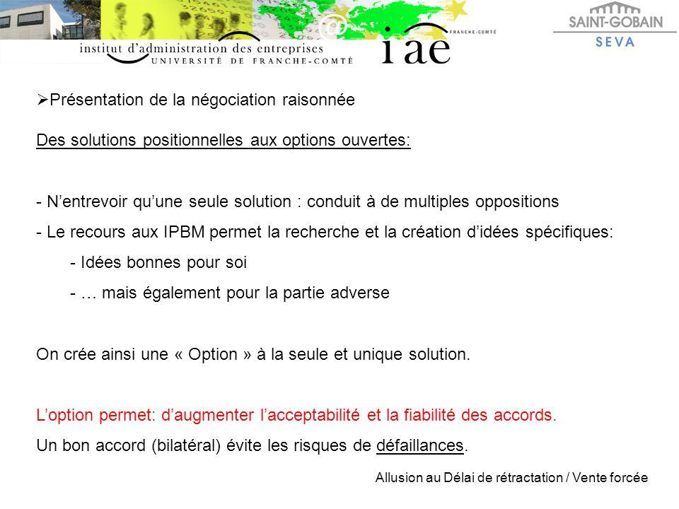  Présentation de la négociation raisonnée Des solutions positionnelles aux options ouvertes: - N'entrevoir qu'une seule solution : conduit à de multi
