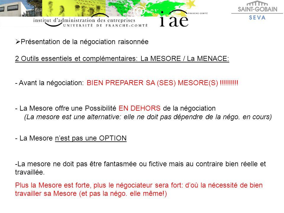  Présentation de la négociation raisonnée 2 Outils essentiels et complémentaires: La MESORE / La MENACE: - Avant la négociation: BIEN PREPARER SA (SE