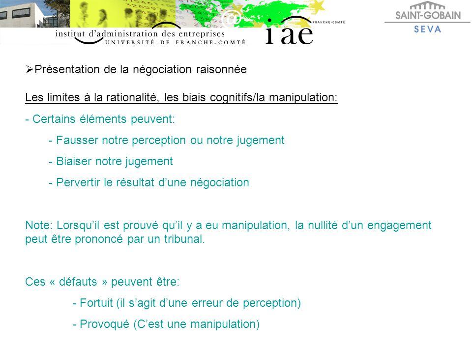  Présentation de la négociation raisonnée Les limites à la rationalité, les biais cognitifs/la manipulation: - Certains éléments peuvent: - Fausser n