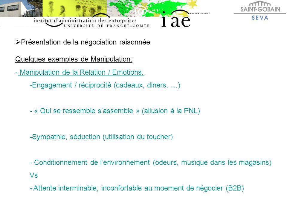  Présentation de la négociation raisonnée Quelques exemples de Manipulation: - Manipulation de la Relation / Emotions: -Engagement / réciprocité (cad