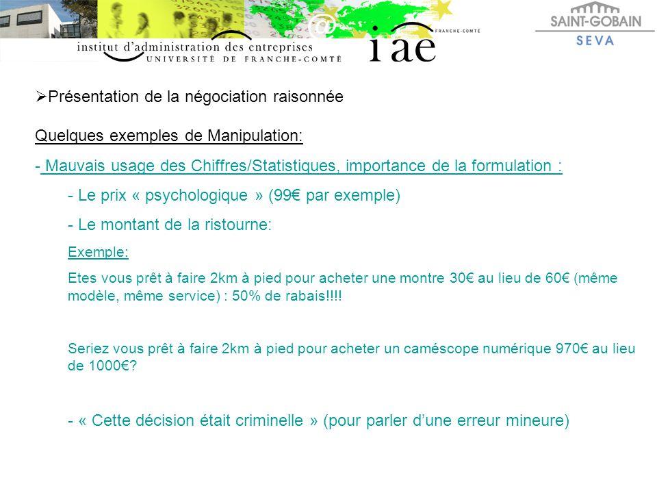  Présentation de la négociation raisonnée Quelques exemples de Manipulation: - Mauvais usage des Chiffres/Statistiques, importance de la formulation