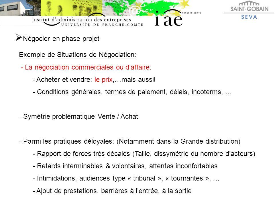  Négocier en phase projet Exemple de Situations de Négociation: - La négociation commerciales ou d'affaire: - Acheter et vendre: le prix,…mais aussi!