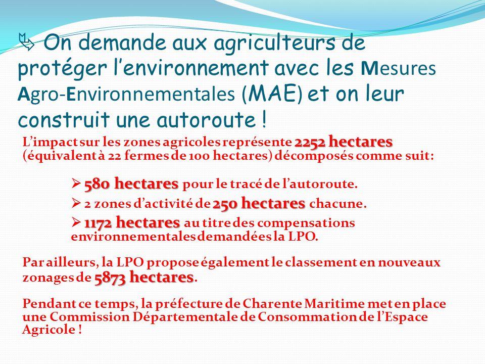  On demande aux agriculteurs de protéger l'environnement avec les Mesures Agro-Environnementales ( MAE ) et on leur construit une autoroute .