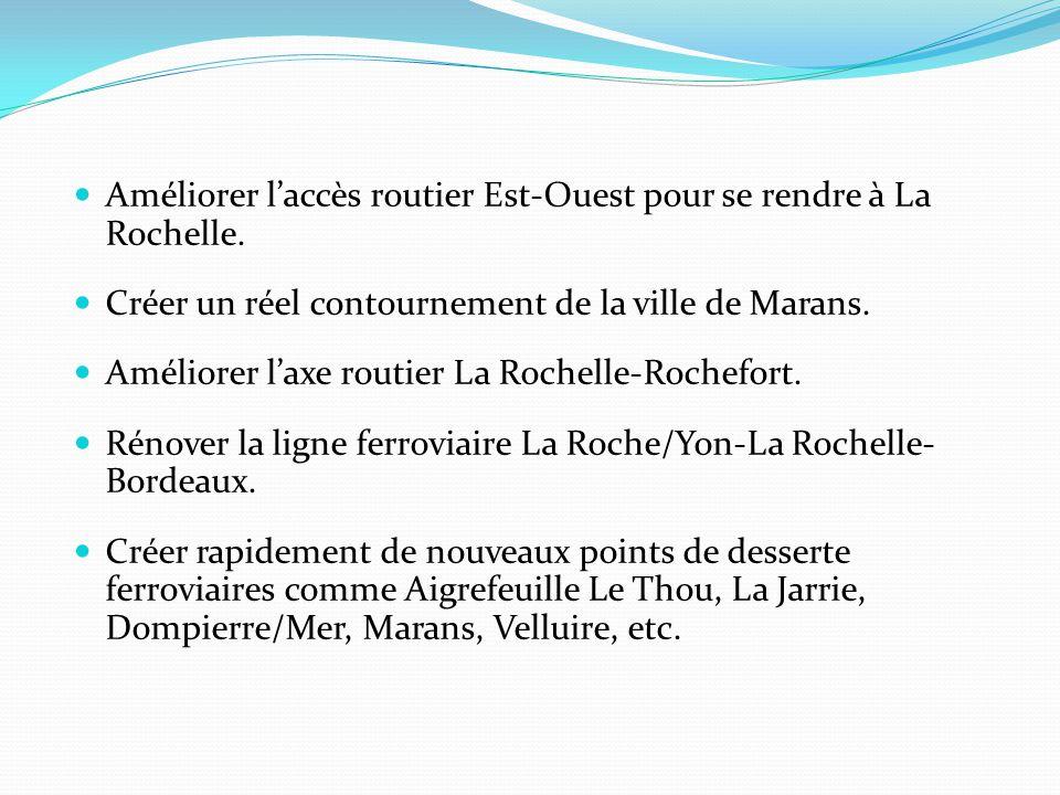 Améliorer l'accès routier Est-Ouest pour se rendre à La Rochelle. Créer un réel contournement de la ville de Marans. Améliorer l'axe routier La Rochel