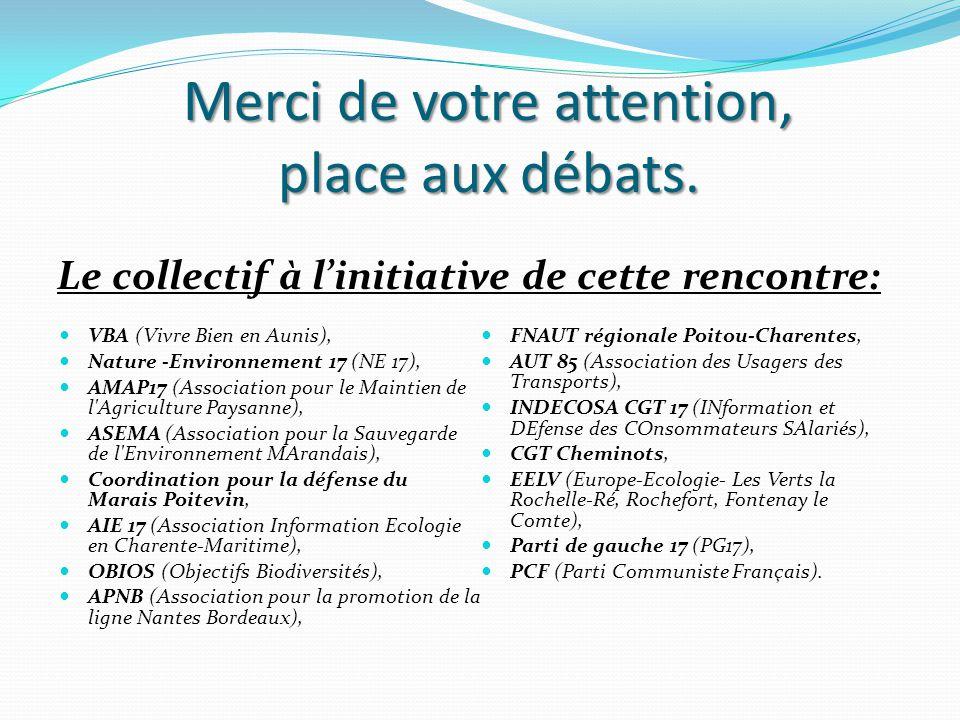 Merci de votre attention, place aux débats. VBA (Vivre Bien en Aunis), Nature -Environnement 17 (NE 17), AMAP17 (Association pour le Maintien de l'Agr