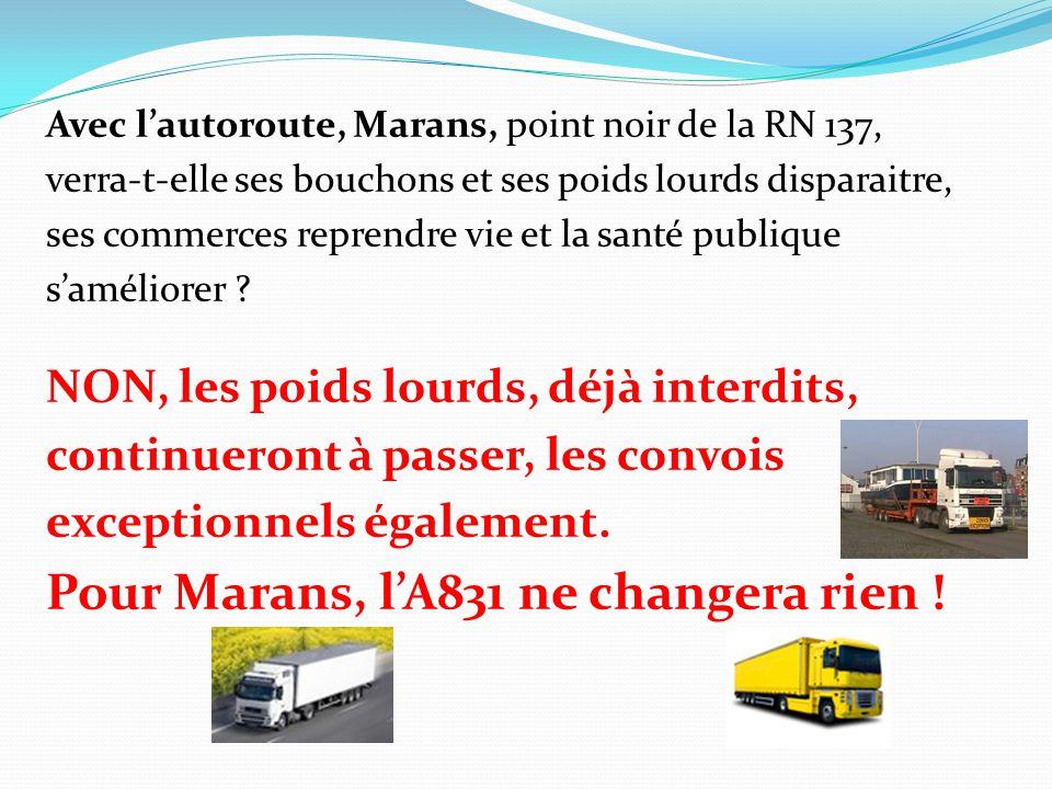 Avec l'autoroute, Marans, point noir de la RN 137, verra-t-elle ses bouchons et ses poids lourds disparaitre, ses commerces reprendre vie et la santé publique s'améliorer .