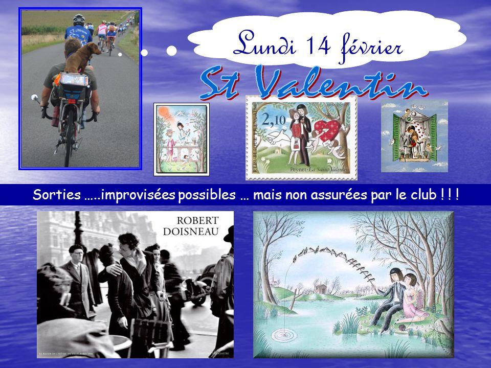 Dimanche 20 février Départ 9H : 68 Km ALENCON-D30-Gesnes-D21-Assé-Sougé-D15- St Paul-D15-D268-Col de St Sulpice-D149- Gesvres-D204-1km à gauche-à droite Vallée de la Misère-Pont de la Folie-St Léonard des Bois- D146-St Céneri-D101-le Poteau-Condé- ALENCON.