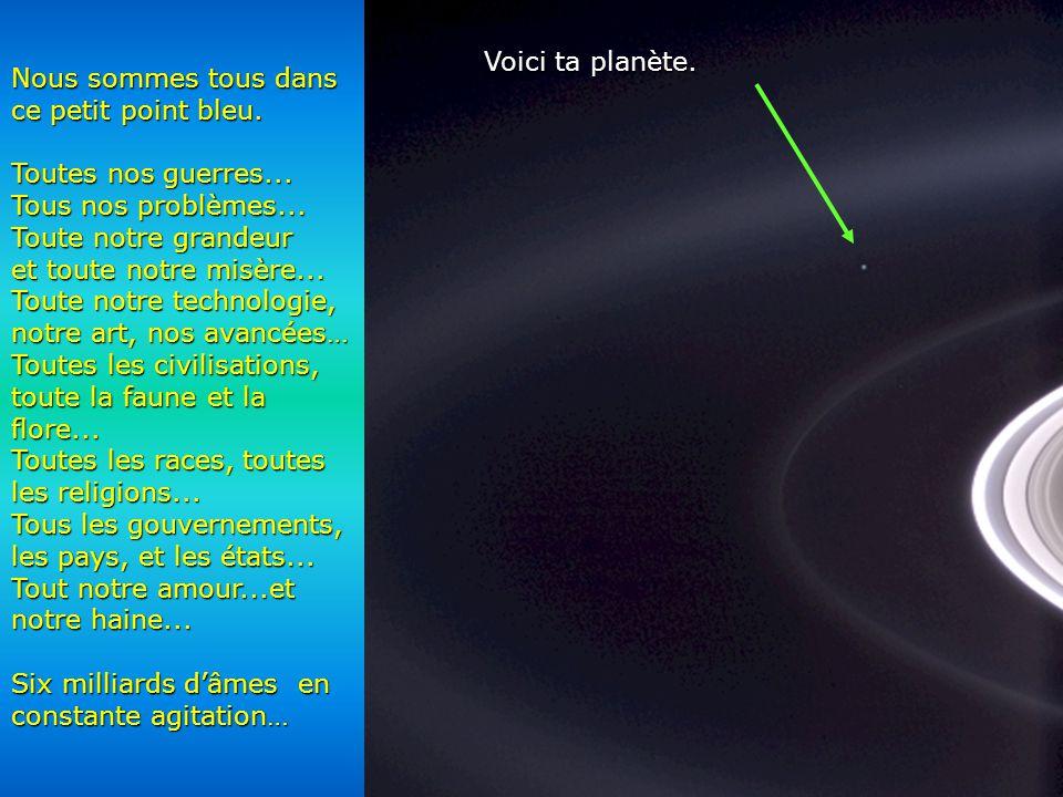Héla aquí, pues: Contemple cette photo quelques instants. Elle a été prise par Cassini- Juygens, un vaisseau spatial automatique, en 2004, à l'arrivée