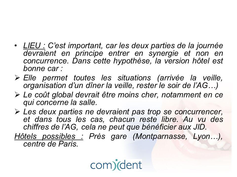 LIEU : C'est important, car les deux parties de la journée devraient en principe entrer en synergie et non en concurrence.
