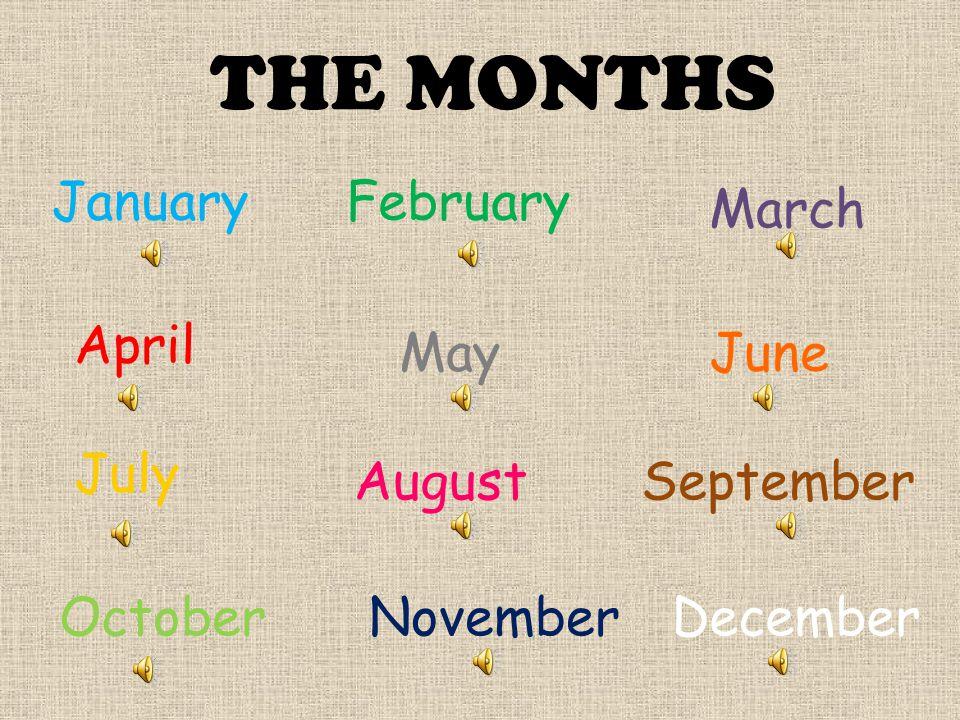 THE MONTHS JanuaryFebruary March April MayJune July AugustSeptember OctoberNovemberDecember