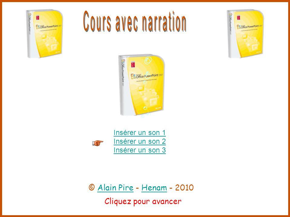 Cliquez pour avancer Insérer un son 1 Insérer un son 2 Insérer un son 3 © Alain Pire - Henam - 2010Alain PireHenam