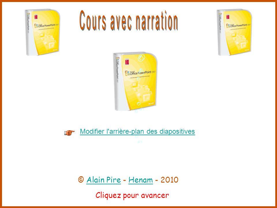 Cliquez pour avancer Modifier l arrière-plan des diapositives © Alain Pire - Henam - 2010Alain PireHenam