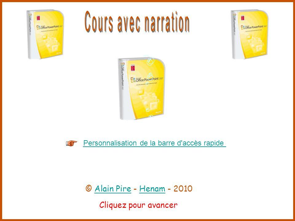 Cliquez pour avancer Personnalisation de la barre d accès rapide © Alain Pire - Henam - 2010Alain PireHenam