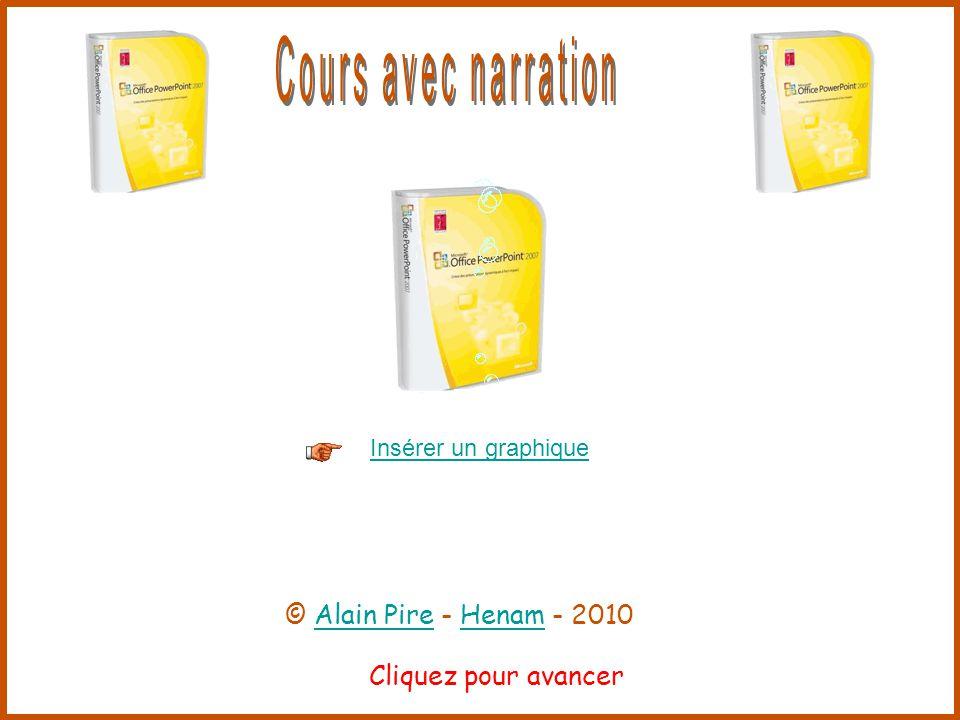 Cliquez pour avancer Insérer un graphique © Alain Pire - Henam - 2010Alain PireHenam