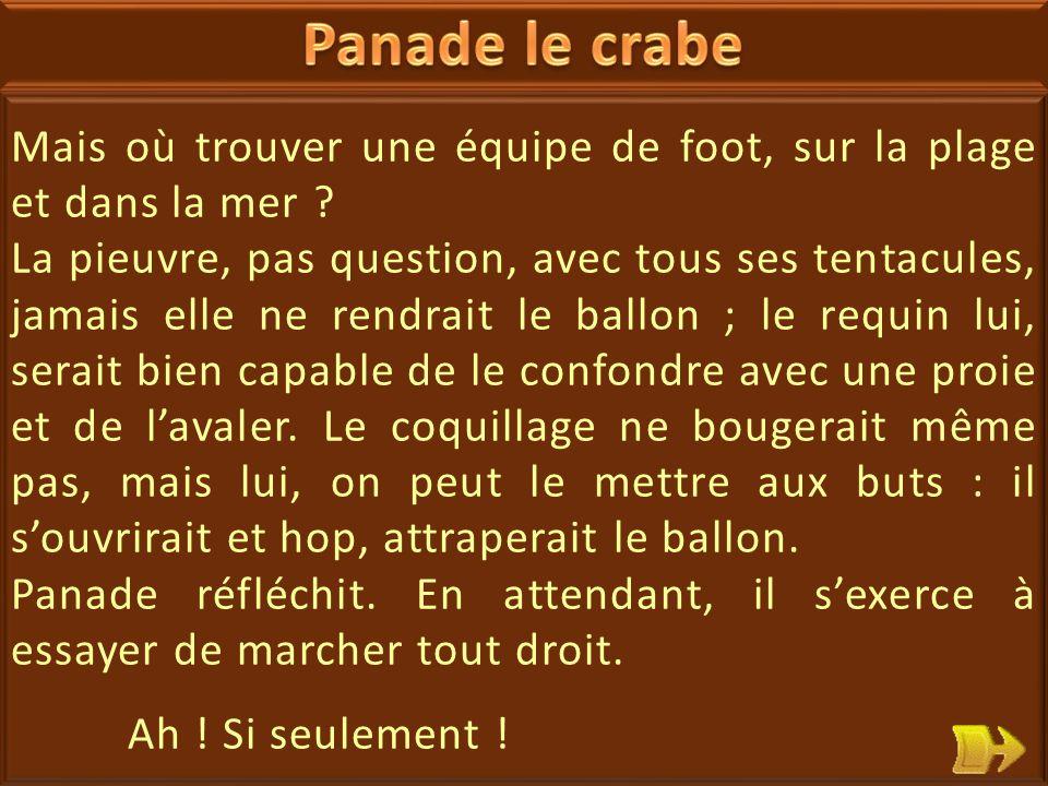 07 Panade le crabe revendique : il en a assez de marcher de travers .