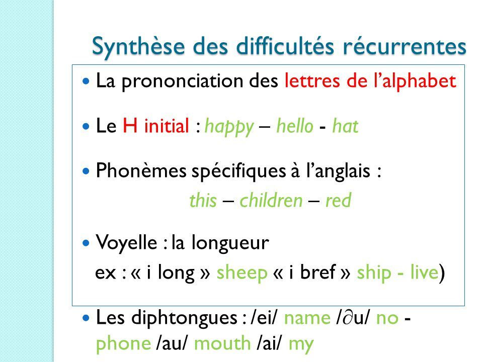 La prononciation des lettres de l'alphabet Le H initial : happy – hello - hat Phonèmes spécifiques à l'anglais : this – children – red Voyelle : la lo
