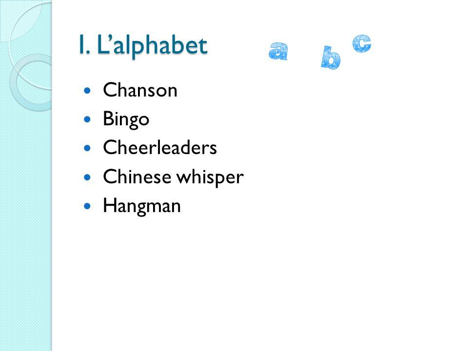 I. L'alphabet Chanson Bingo Cheerleaders Chinese whisper Hangman
