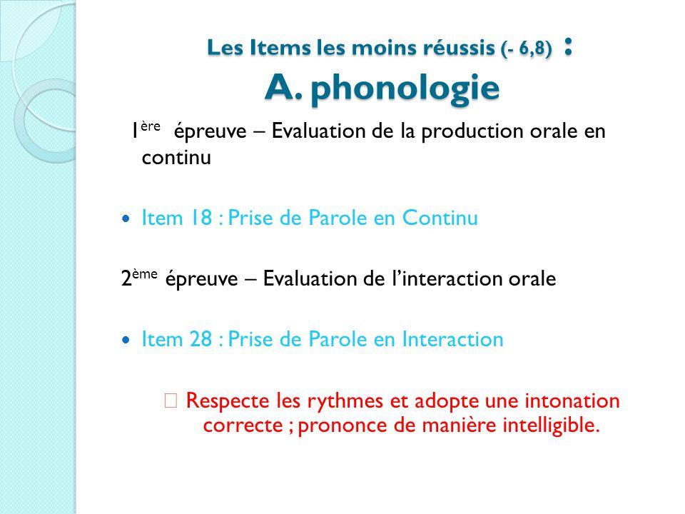 Les Items les moins réussis (- 6,8) : A. phonologie Les Items les moins réussis (- 6,8) : A. phonologie 1 ère épreuve – Evaluation de la production or