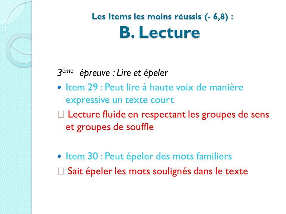 Les Items les moins réussis (- 6,8) : B. Lecture Les Items les moins réussis (- 6,8) : B. Lecture 3 ème épreuve : Lire et épeler Item 29 : Peut lire à