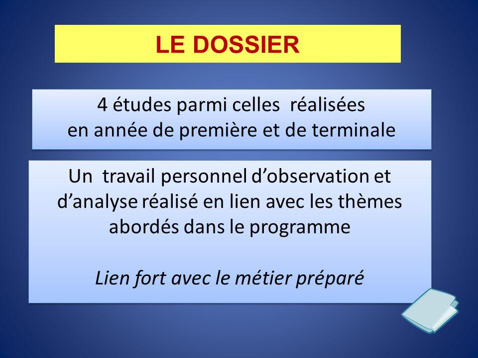 LE DOSSIER 4 études parmi celles réalisées en année de première et de terminale Un travail personnel d'observation et d'analyse réalisé en lien avec l