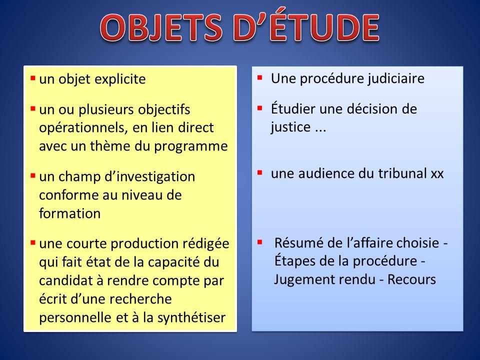  Une procédure judiciaire  Étudier une décision de justice...  une audience du tribunal xx  Résumé de l'affaire choisie - Étapes de la procédure -
