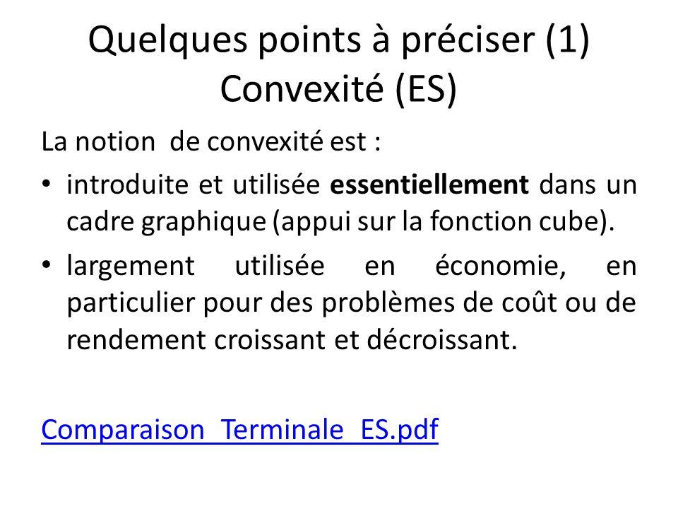Quelques points à préciser (1) Convexité (ES) La notion de convexité est : introduite et utilisée essentiellement dans un cadre graphique (appui sur l