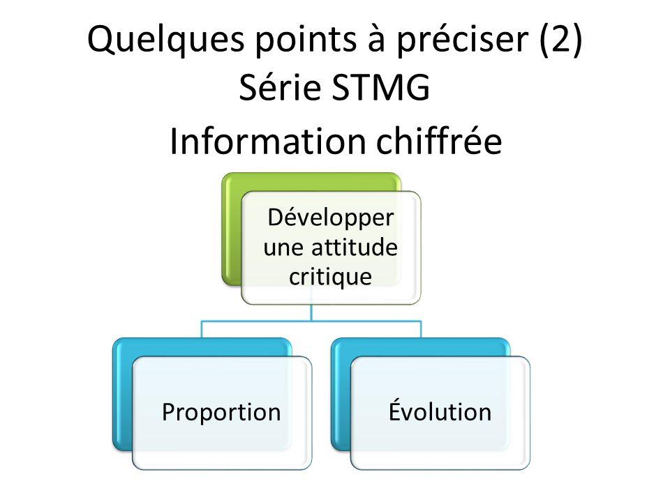 Information chiffrée Développer une attitude critique ProportionÉvolution Quelques points à préciser (2) Série STMG