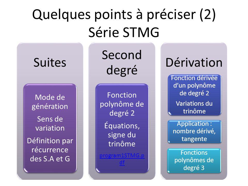 Suites Mode de génération Sens de variation Définition par récurrence des S.A et G Second degré Fonction polynôme de degré 2 Équations, signe du trinô