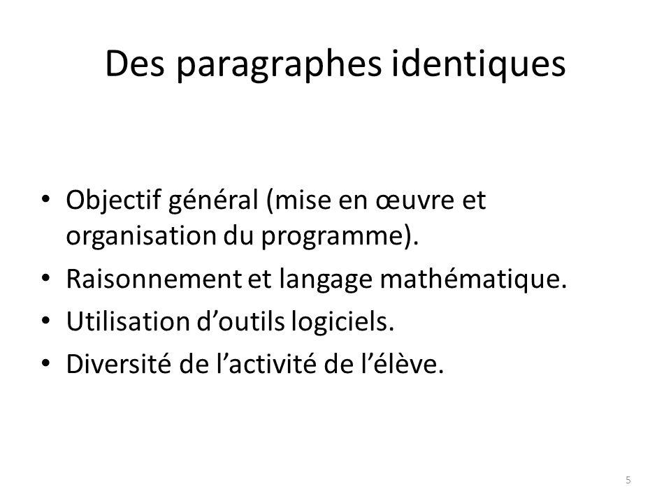 Des paragraphes identiques Objectif général (mise en œuvre et organisation du programme). Raisonnement et langage mathématique. Utilisation d'outils l