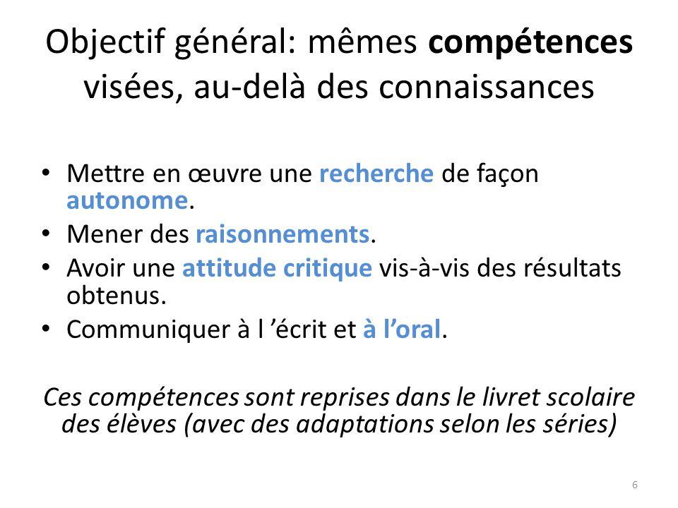 Objectif général: mêmes compétences visées, au-delà des connaissances Mettre en œuvre une recherche de façon autonome. Mener des raisonnements. Avoir