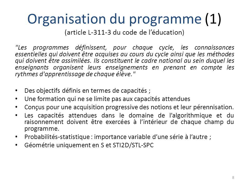 Organisation du programme (1) (article L-311-3 du code de l'éducation) 8