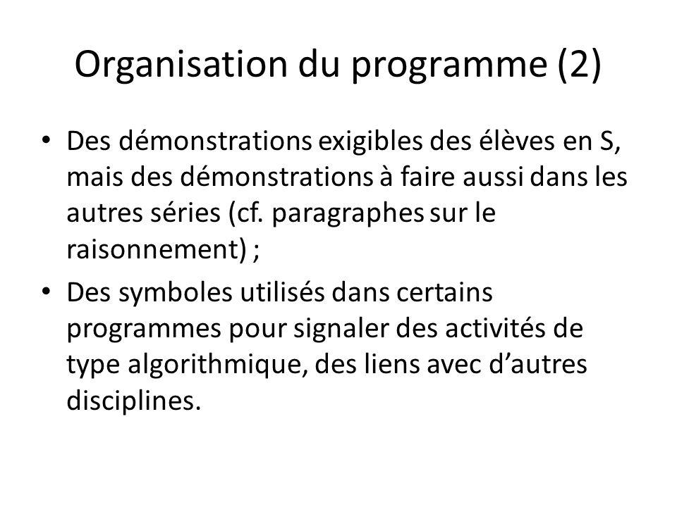 Organisation du programme (2) Des démonstrations exigibles des élèves en S, mais des démonstrations à faire aussi dans les autres séries (cf. paragrap
