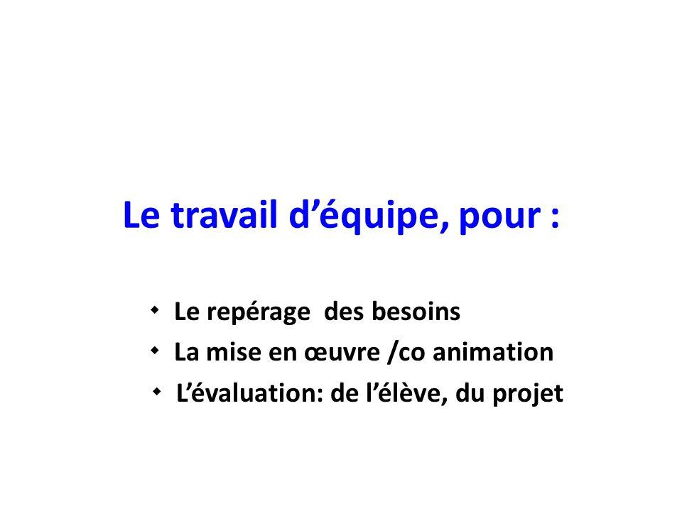 Le travail d'équipe, pour :  Le repérage des besoins  La mise en œuvre /co animation  L'évaluation: de l'élève, du projet