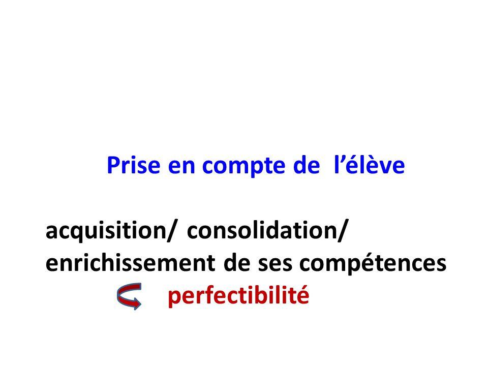 Prise en compte de l'élève acquisition/ consolidation/ enrichissement de ses compétences perfectibilité