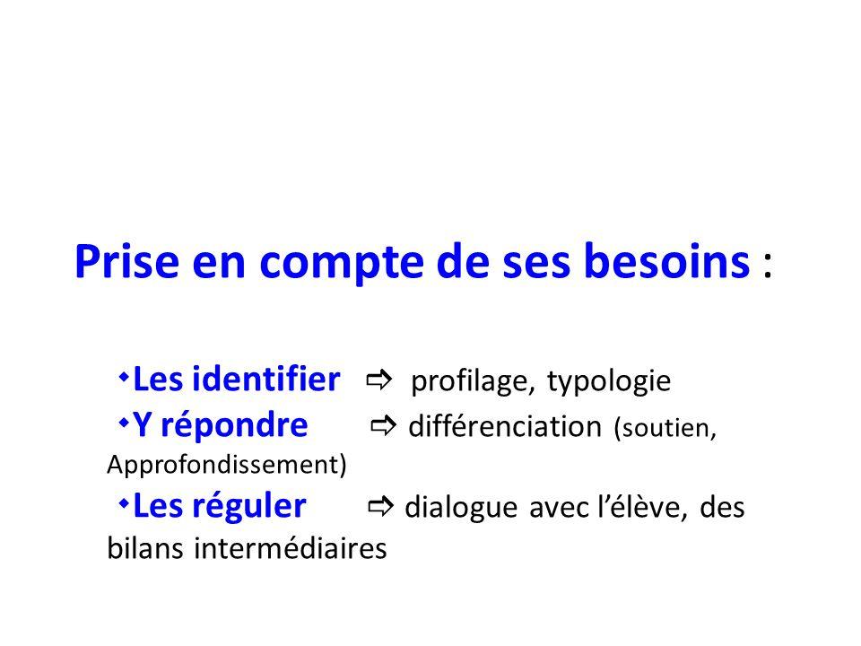 Prise en compte de ses besoins :  Les identifier  profilage, typologie  Y répondre  différenciation (soutien, Approfondissement)  Les réguler  dialogue avec l'élève, des bilans intermédiaires