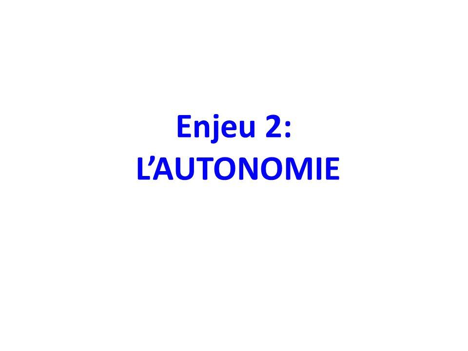 Enjeu 2: L'AUTONOMIE