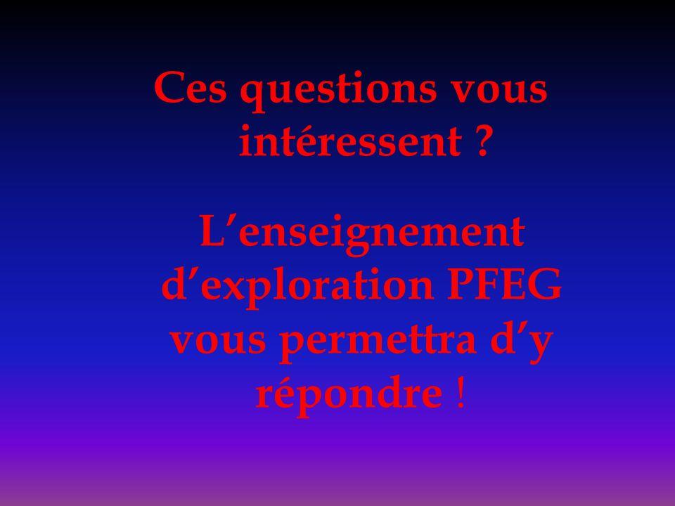 Ces questions vous intéressent ? L'enseignement d'exploration PFEG vous permettra d'y répondre !