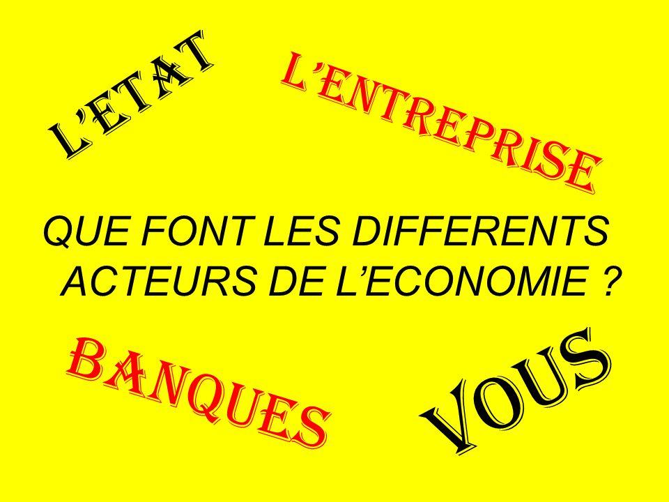 BANQUES QUE FONT LES DIFFERENTS ACTEURS DE L'ECONOMIE ? L'ETAT VOUS L'ENTREPRI SE