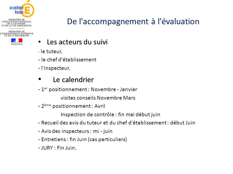 De l'accompagnement à l'évaluation Les acteurs du suivi Les acteurs du suivi - le tuteur, - le chef d'établissement - l'inspecteur, Le calendrier Le c
