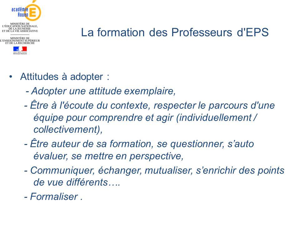 La formation des Professeurs d'EPS Attitudes à adopter : - Adopter une attitude exemplaire, - Être à l'écoute du contexte, respecter le parcours d'une