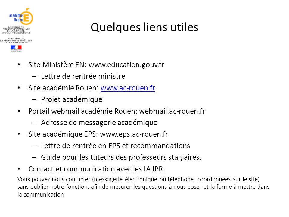 Quelques liens utiles Site Ministère EN: www.education.gouv.fr – Lettre de rentrée ministre Site académie Rouen: www.ac-rouen.frwww.ac-rouen.fr – Proj