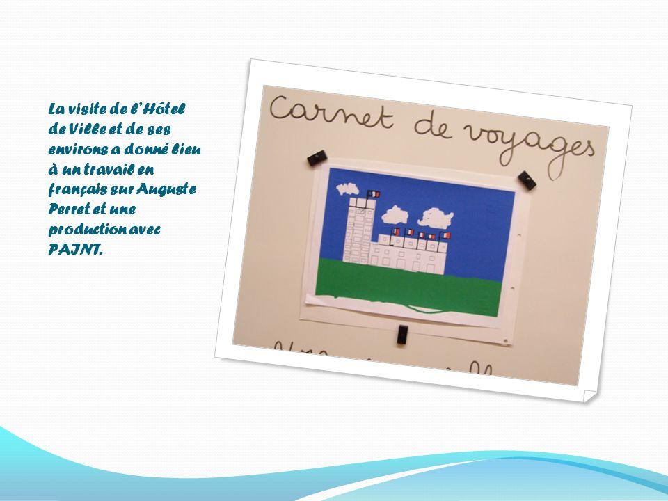 La visite de l'Hôtel de Ville et de ses environs a donné lieu à un travail en français sur Auguste Perret et une production avec PAINT.