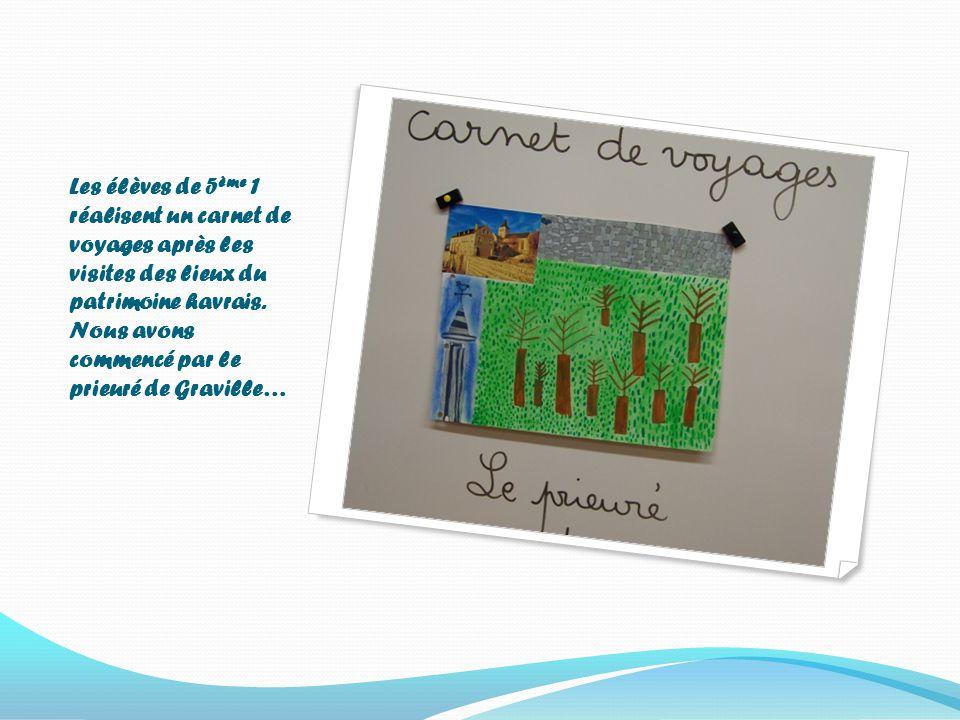 Les élèves de 5 ème 1 réalisent un carnet de voyages après les visites des lieux du patrimoine havrais.