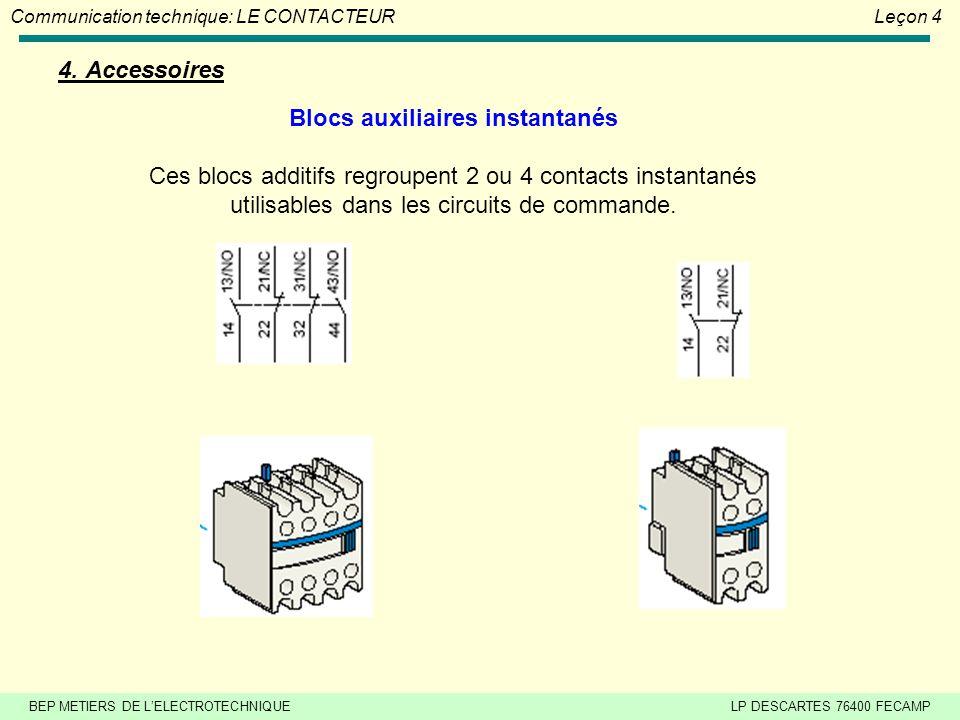 BEP METIERS DE L'ELECTROTECHNIQUELP DESCARTES 76400 FECAMP Communication technique: LE CONTACTEURLeçon 4 3. Constitution (suite) Electro aimant Il est