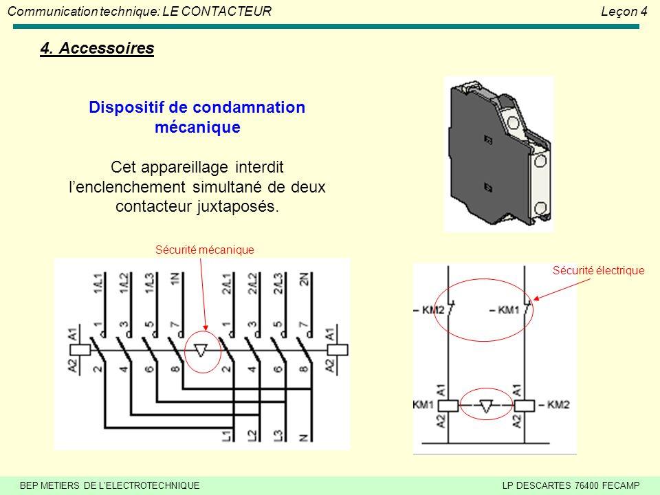 BEP METIERS DE L'ELECTROTECHNIQUELP DESCARTES 76400 FECAMP Communication technique: LE CONTACTEURLeçon 4 4. Accessoires Blocs auxiliaires temporisés I