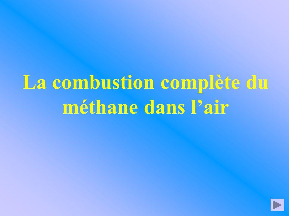 Donc ici l'équation s'écrit: ou plus simplement 2 CH 4 4 O 2 + 4 H 2 O2 CO 2 + Équation bilan de la combustion complète du méthane 1 CH 4 2 O 2 + 2 H 2 O1 CO 2 + CH 4 2 O 2 + 2 H 2 O CO 2 + clic