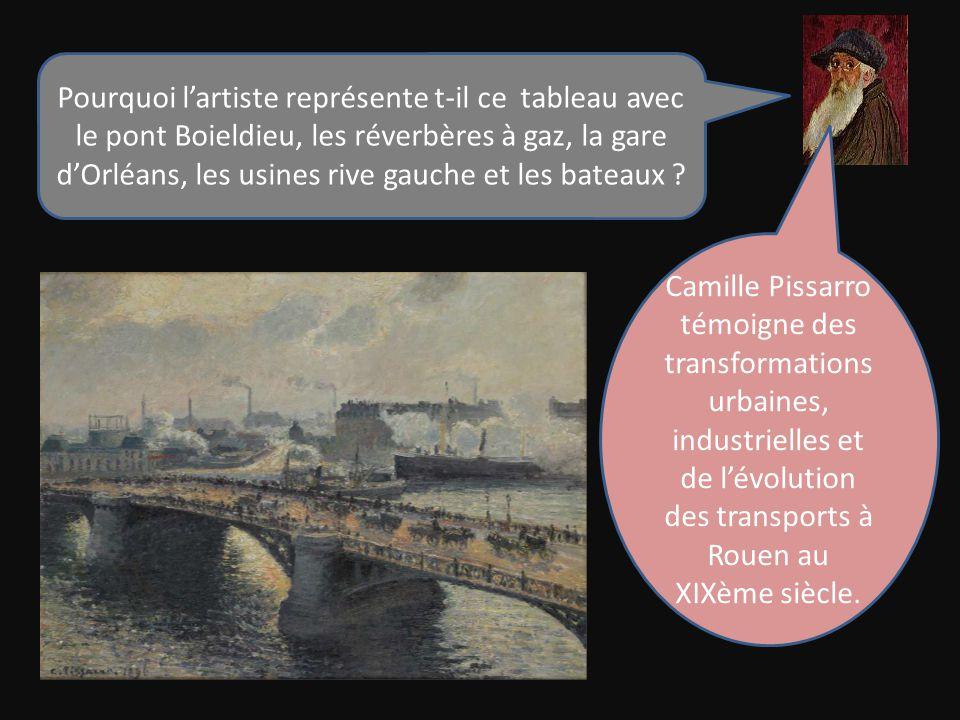 Pourquoi l'artiste représente t-il ce tableau avec le pont Boieldieu, les réverbères à gaz, la gare d'Orléans, les usines rive gauche et les bateaux .